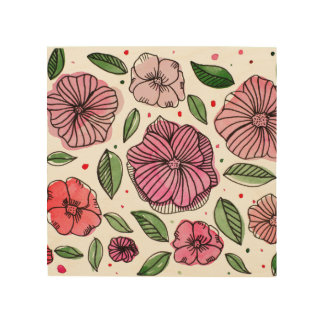 Watercolor and ink flowers – pink and green wood wall art