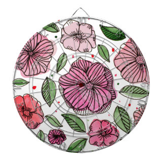 Watercolor and ink flowers - pink dartboard