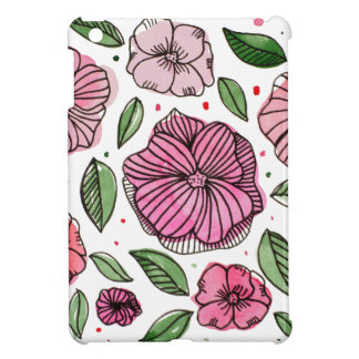 Watercolor and ink flowers - pink iPad mini cover