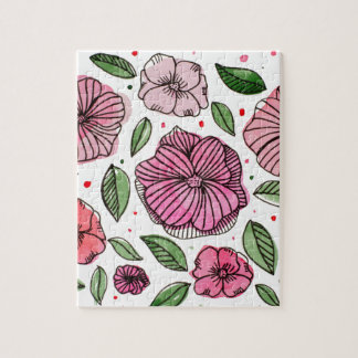 Watercolor and ink flowers - pink jigsaw puzzle