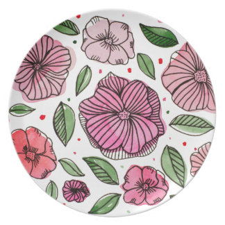 Watercolor and ink flowers - pink plate