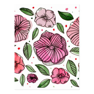 Watercolor and ink flowers - pink postcard