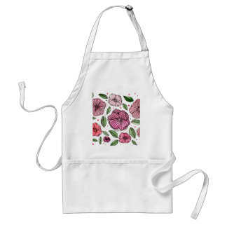 Watercolor and ink flowers - pink standard apron
