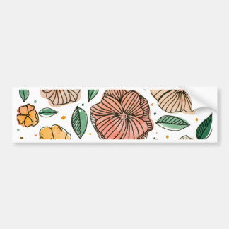 Watercolor and ink flowers - vintage bumper sticker