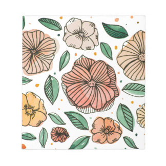 Watercolor and ink flowers – vintage palette notepad