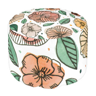 Watercolor and ink flowers – vintage palette pouf