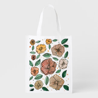 Watercolor and ink flowers – vintage palette reusable grocery bag