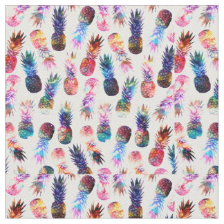 watercolor and nebula pineapples illustration fabric