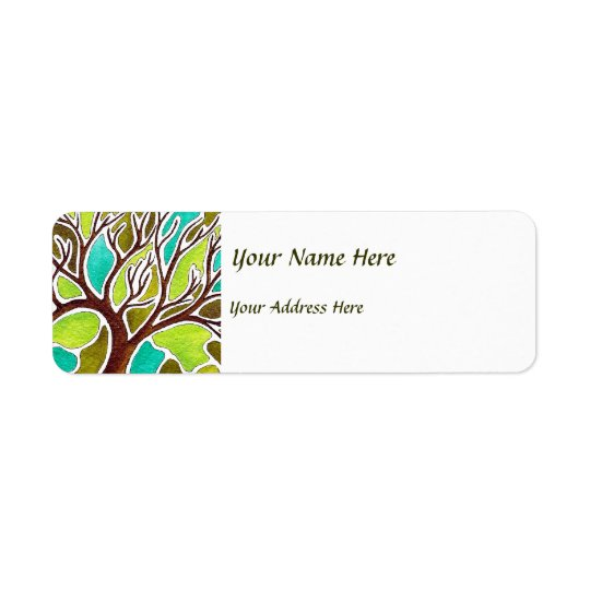 Watercolor and Pen & Ink Tree Return Address Label