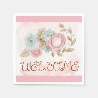 Watercolor and pencil floral Welcome Disposable Napkins