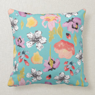 Watercolor and textured stylized floral pillow