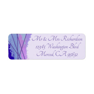 Watercolor and ultraviolet lines, contemporary return address label