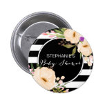 Watercolor Anemone Blooms Baby Shower Button