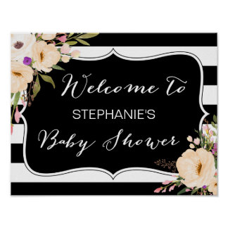 Watercolor Anemone Blooms Baby Shower Poster