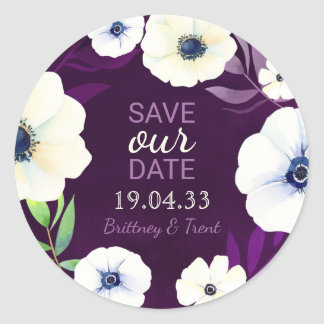 Watercolor Anemone Purple Wedding Save the Date Round Sticker