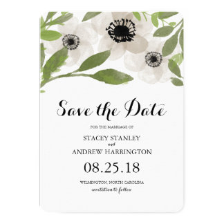 Watercolor Anemones | Save the Date Card