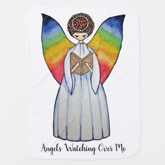 Watercolor Angel With Rainbow Wings Reading A Book Baby Blanket