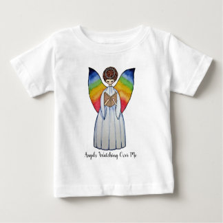 Watercolor Angel With Rainbow Wings Reading A Book Baby T-Shirt