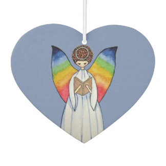 Watercolor Angel With Rainbow Wings Reading A Book Car Air Freshener
