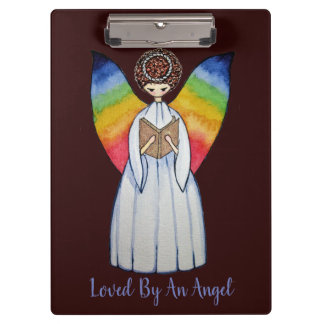 Watercolor Angel With Rainbow Wings Reading A Book Clipboard
