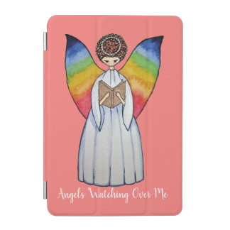 Watercolor Angel With Rainbow Wings Reading A Book iPad Mini Cover