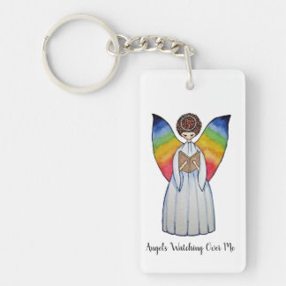 Watercolor Angel With Rainbow Wings Reading A Book Key Ring
