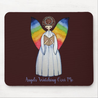 Watercolor Angel With Rainbow Wings Reading A Book Mouse Pad