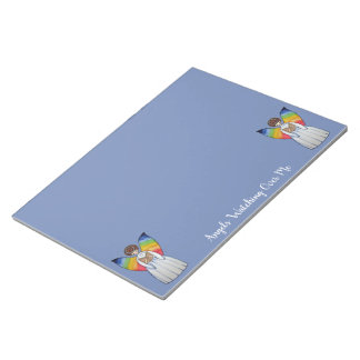 Watercolor Angel With Rainbow Wings Reading A Book Notepad