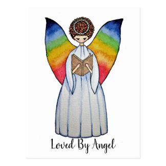 Watercolor Angel With Rainbow Wings Reading A Book Postcard