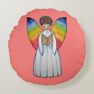Watercolor Angel With Rainbow Wings Reading A Book Round Cushion