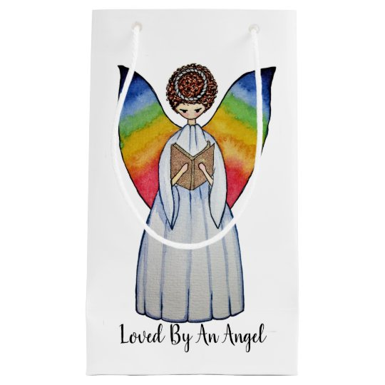 Watercolor Angel With Rainbow Wings Reading A Book Small Gift Bag