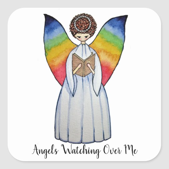 Watercolor Angel With Rainbow Wings Reading A Book Square Sticker