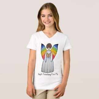 Watercolor Angel With Rainbow Wings Reading A Book T-Shirt