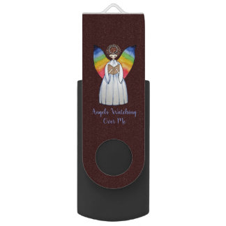 Watercolor Angel With Rainbow Wings Reading A Book USB Flash Drive