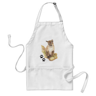 Watercolor Animal Cougar Cub Tracks Standard Apron