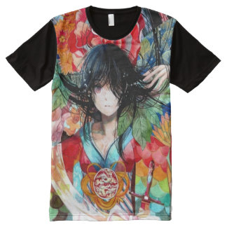 Watercolor Anime Flower Angel Girl All-Over Print T-Shirt