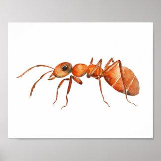 Watercolor ant nursery print