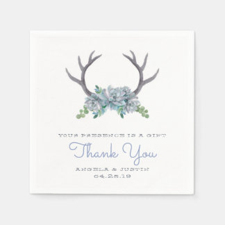 Watercolor Antlers and Echeveria Country Wedding Disposable Napkin