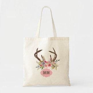 Watercolor Antlers Flowers Custom Monogram Tote Bag