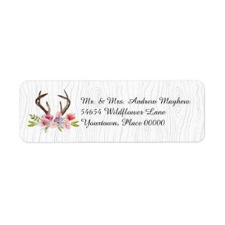 Watercolor Antlers Wildflowers Faux Bois Address Return Address Label