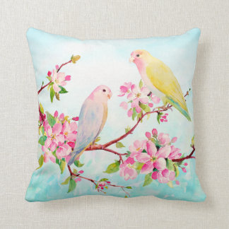 Watercolor Apple Blossoms and Love Birds Cushion