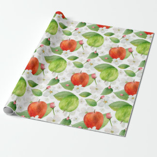 Watercolor apples. Green and red fruits. Garden Wrapping Paper