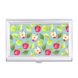 Watercolor Apples Pattern Business Card Holder