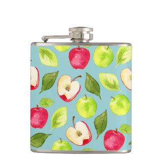 Watercolor Apples Pattern Hip Flask