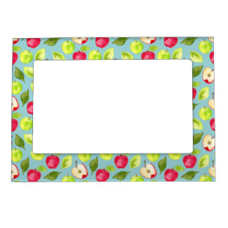 Watercolor Apples Pattern Magnetic Frame
