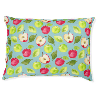 Watercolor Apples Pattern Pet Bed