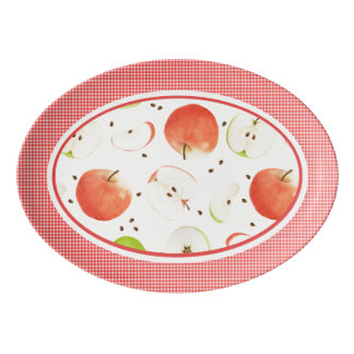Watercolor apples & plaid Porcelain Coupe Platter