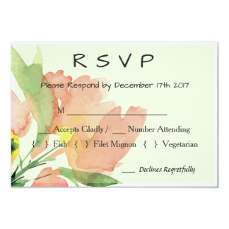 Watercolor Apricot Floral Wedding RSVP Card