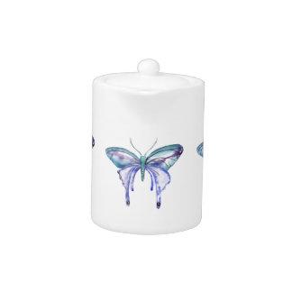 watercolor aqua blue purple butterfly