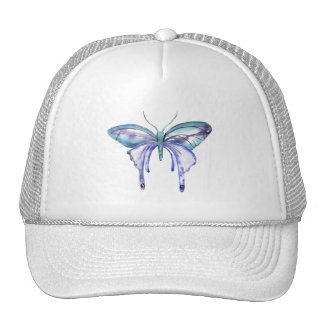 watercolor aqua blue purple butterfly cap